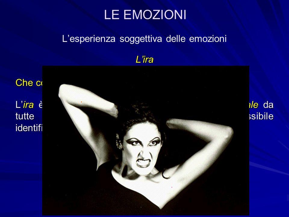 Lesperienza soggettiva delle emozioniLira Essendo un emozione primitiva, essa può essere osservata sia in bambini molto piccoli, sia in specie animali diverse dall uomo.