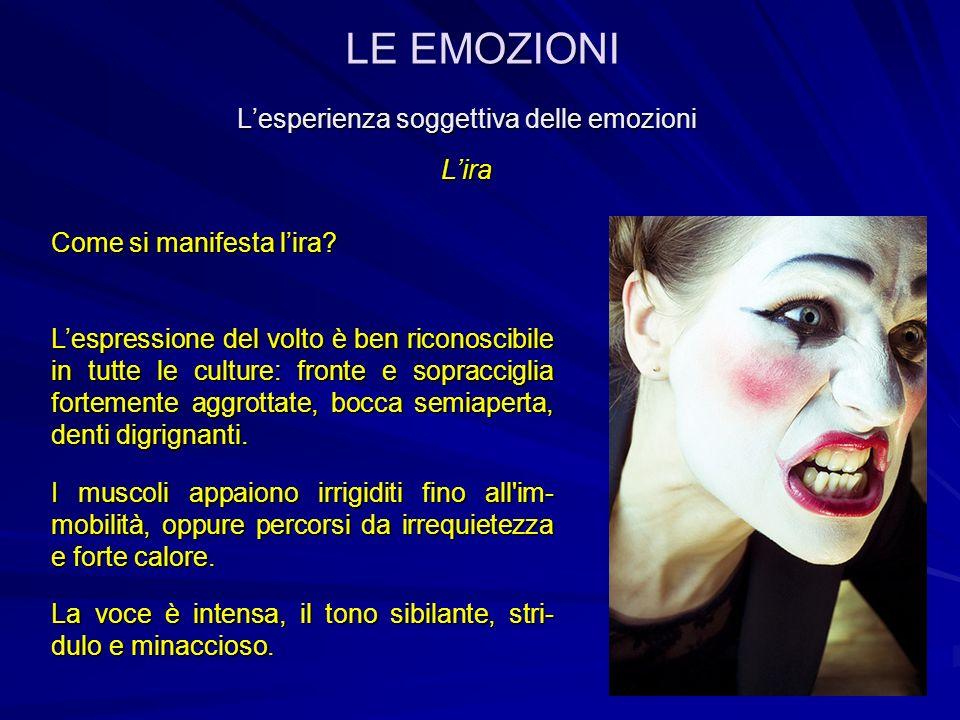 Lesperienza soggettiva delle emozioni Lira Altri aspetti dellira L organismo è pronto all azione, all attacco e all aggressione.