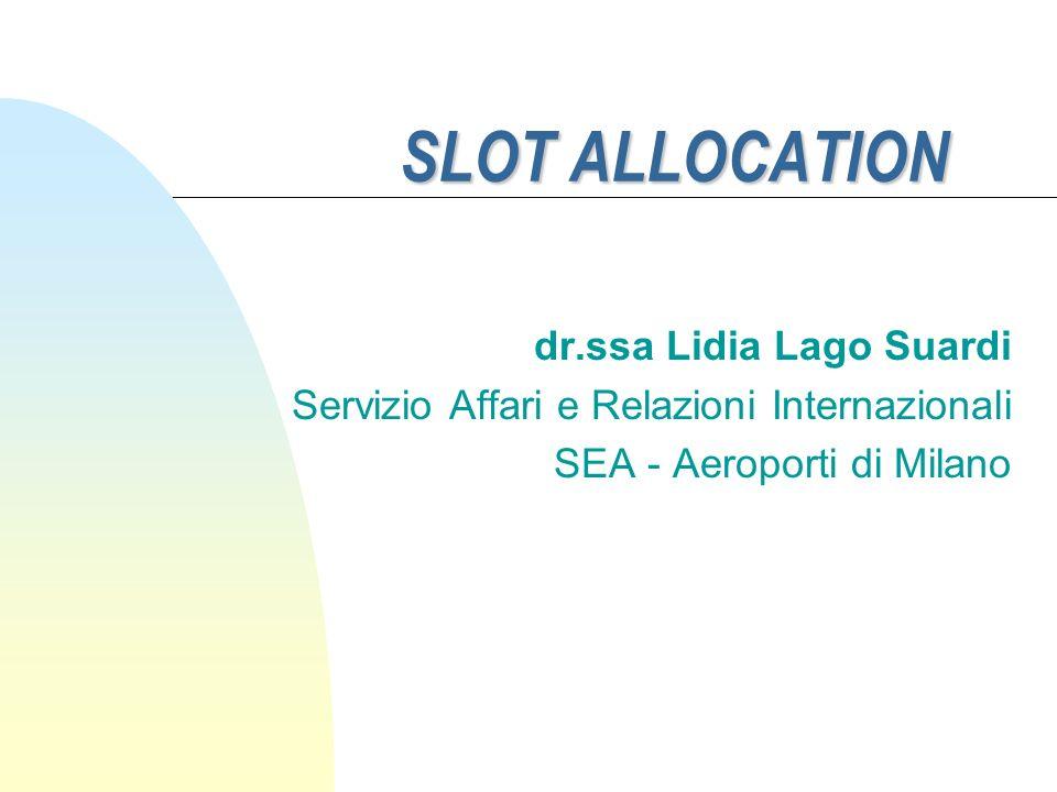 SLOT ALLOCATION dr.ssa Lidia Lago Suardi Servizio Affari e Relazioni Internazionali SEA - Aeroporti di Milano