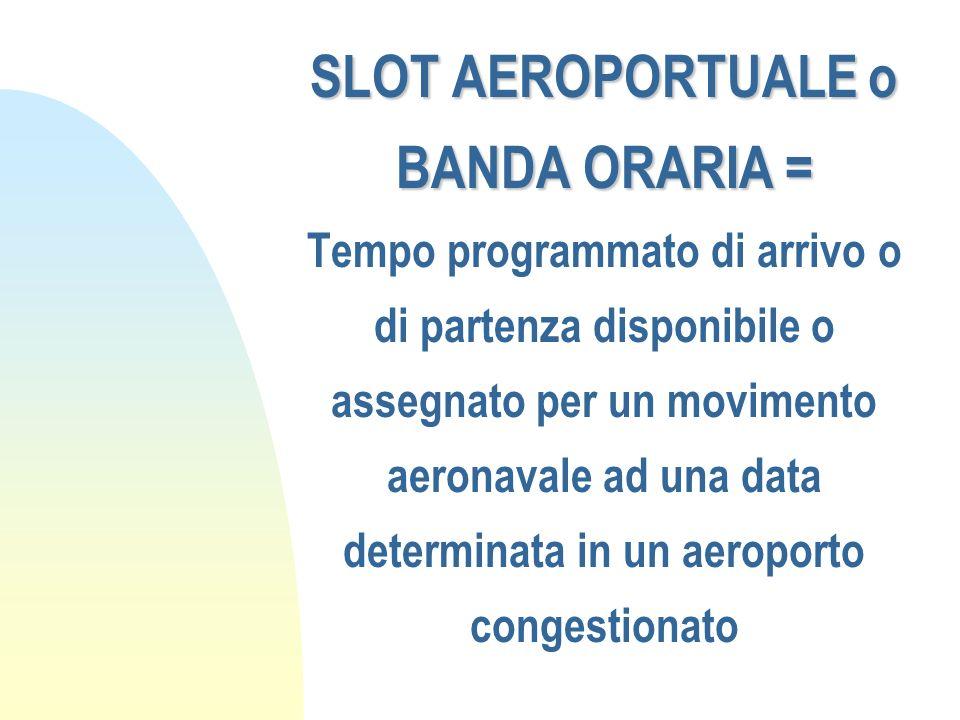 SLOT AEROPORTUALE o BANDA ORARIA = SLOT AEROPORTUALE o BANDA ORARIA = Tempo programmato di arrivo o di partenza disponibile o assegnato per un movimen