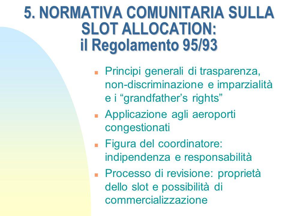 5. NORMATIVA COMUNITARIA SULLA SLOT ALLOCATION: il Regolamento 95/93 n Principi generali di trasparenza, non-discriminazione e imparzialità e i grandf