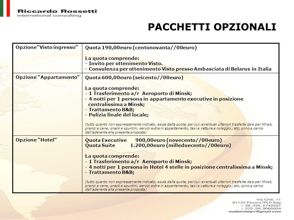 PACCHETTI OPZIONALI OpzioneVisto ingressoQuota 190,00euro (centonovanta//00euro) La quota comprende: - Invito per ottenimento Visto. - Consulenza per