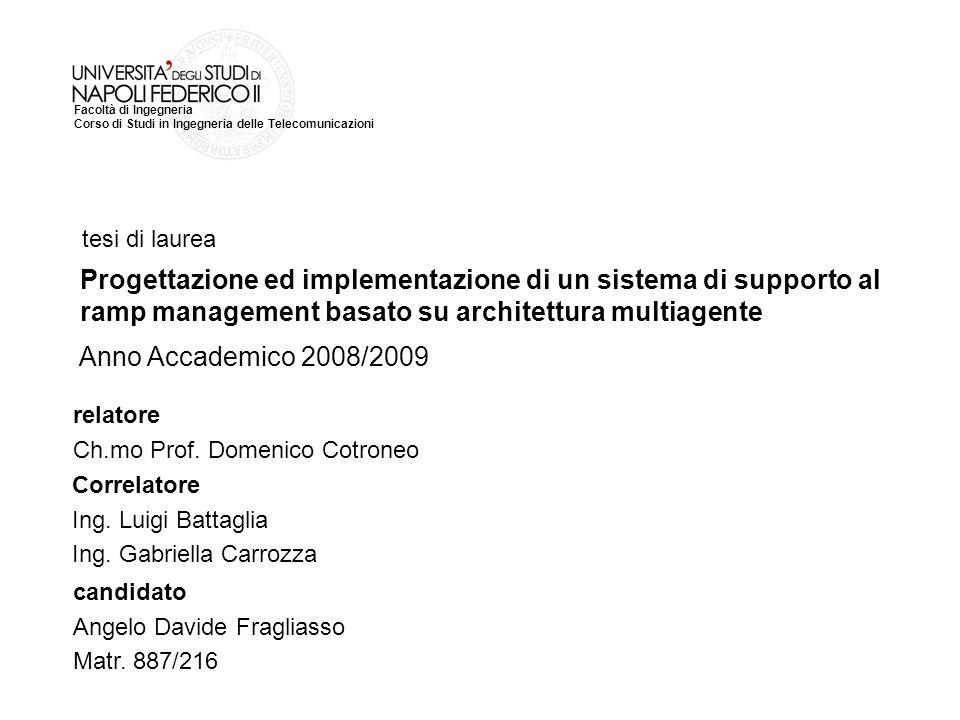 Facoltà di Ingegneria Corso di Studi in Ingegneria delle Telecomunicazioni tesi di laurea relatore Ch.mo Prof. Domenico Cotroneo Correlatore Ing. Luig