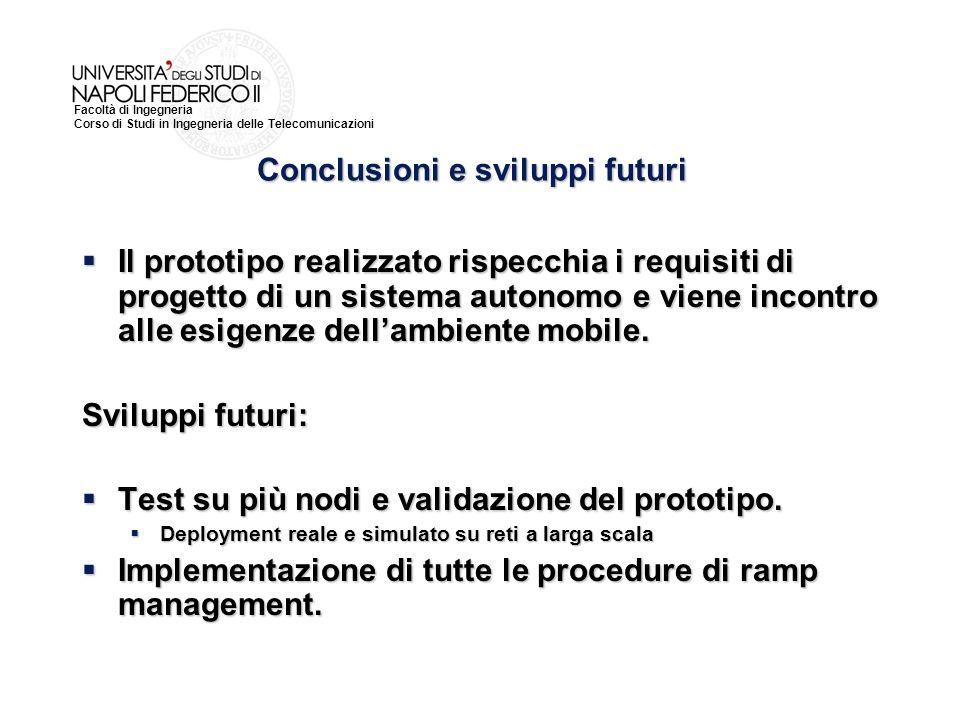 Facoltà di Ingegneria Corso di Studi in Ingegneria delle Telecomunicazioni Il prototipo realizzato rispecchia i requisiti di progetto di un sistema autonomo e viene incontro alle esigenze dellambiente mobile.