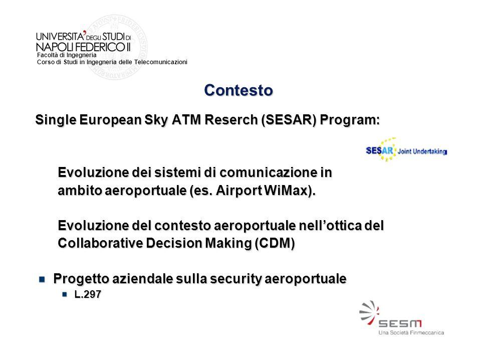 Facoltà di Ingegneria Corso di Studi in Ingegneria delle Telecomunicazioni Single European Sky ATM Reserch (SESAR) Program: Evoluzione dei sistemi di comunicazione in Evoluzione dei sistemi di comunicazione in ambito aeroportuale (es.