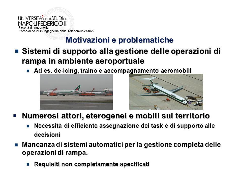 Facoltà di Ingegneria Corso di Studi in Ingegneria delle Telecomunicazioni Motivazioni e problematiche Sistemi di supporto alla gestione delle operazioni di rampa in ambiente aeroportuale Ad es.