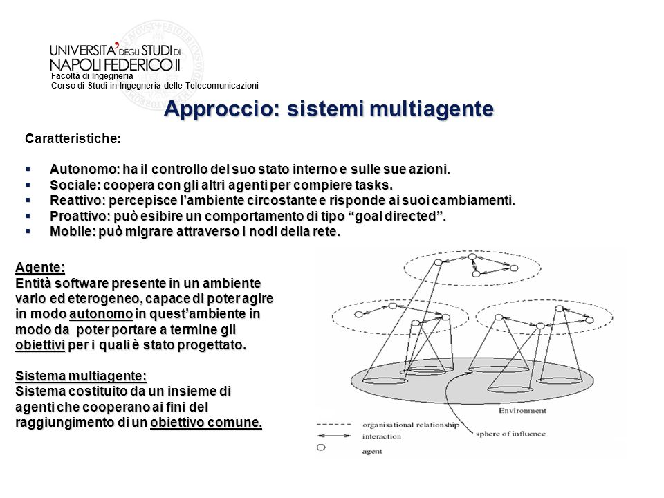 Facoltà di Ingegneria Corso di Studi in Ingegneria delle Telecomunicazioni Caratteristiche: Autonomo: ha il controllo del suo stato interno e sulle sue azioni.