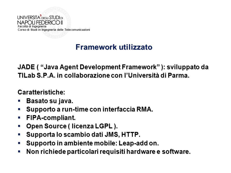 Facoltà di Ingegneria Corso di Studi in Ingegneria delle Telecomunicazioni JADE ( Java Agent Development Framework ): sviluppato da TILab S.P.A. in co