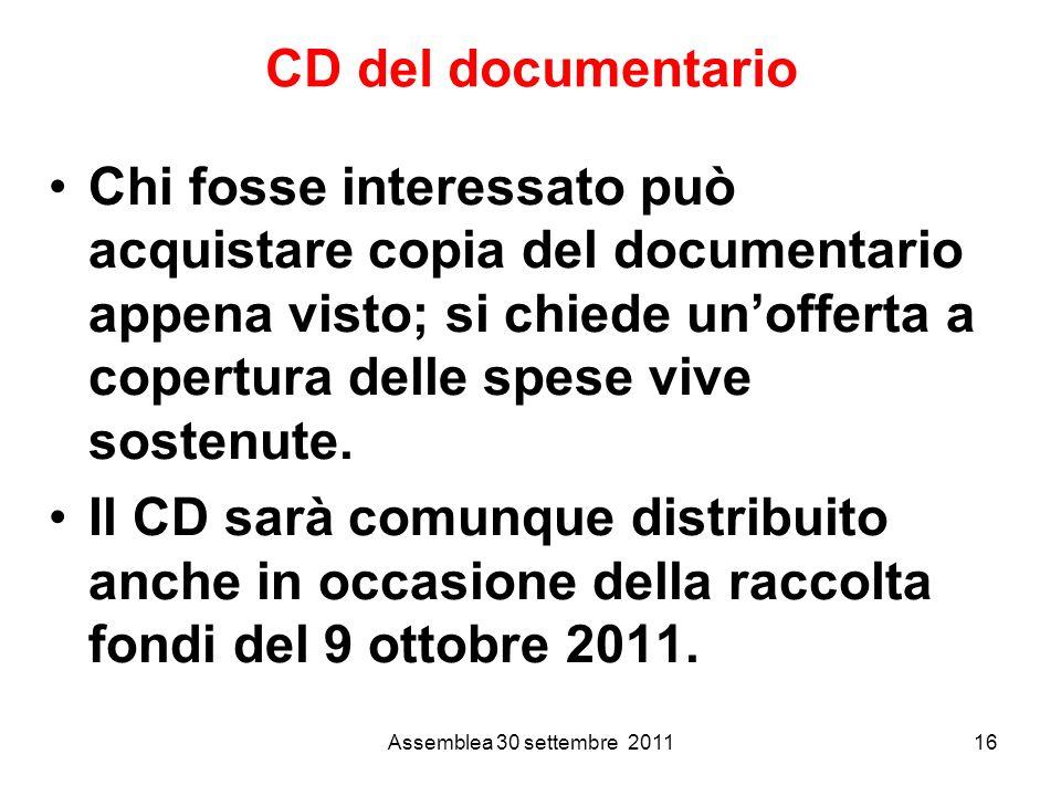 CD del documentario Chi fosse interessato può acquistare copia del documentario appena visto; si chiede unofferta a copertura delle spese vive sostenute.