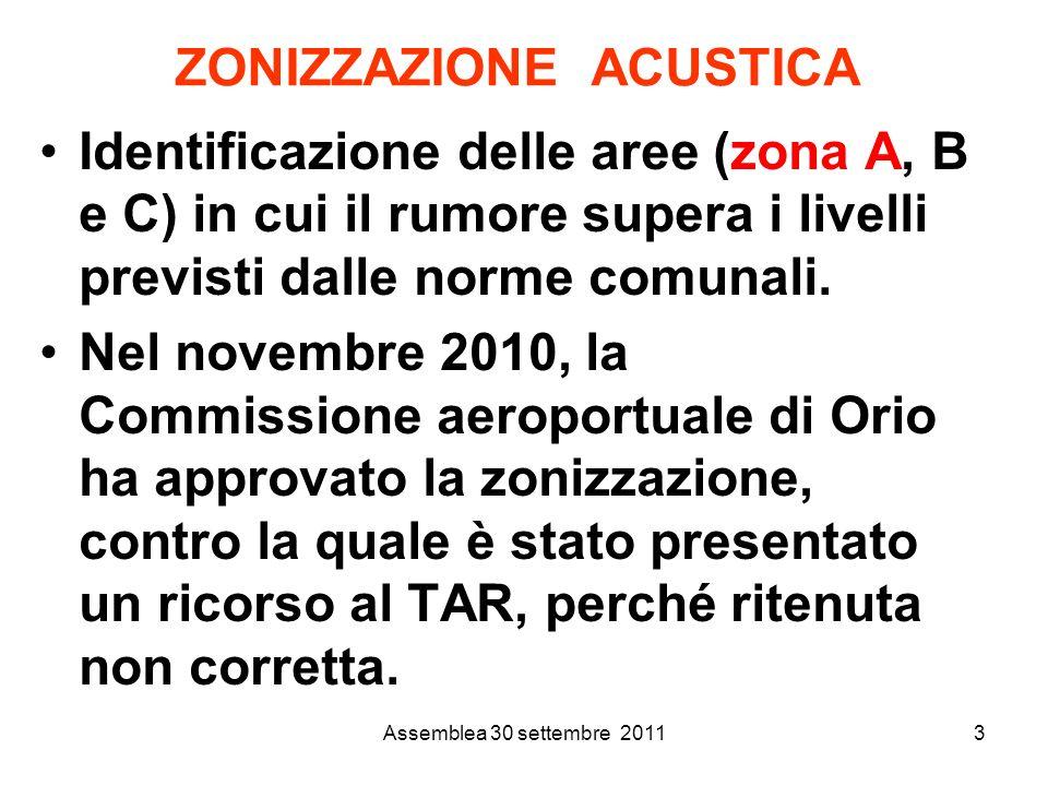 Assemblea 30 settembre 20113 ZONIZZAZIONE ACUSTICA Identificazione delle aree (zona A, B e C) in cui il rumore supera i livelli previsti dalle norme comunali.