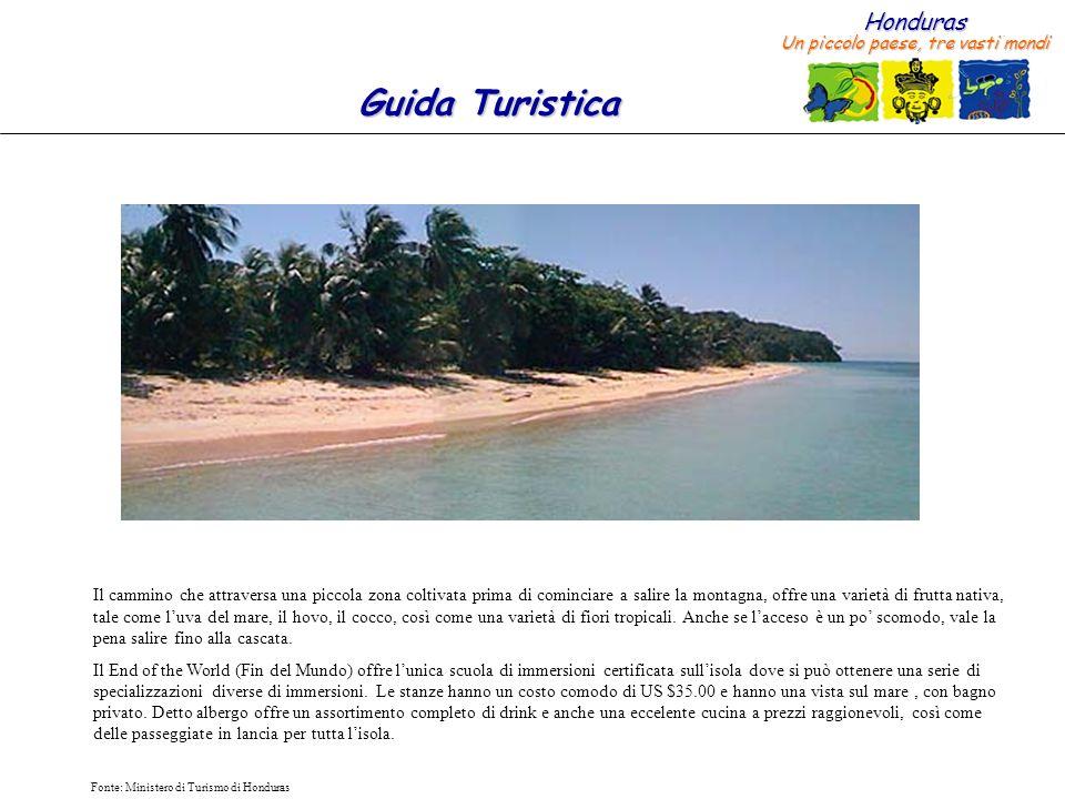 Honduras Un piccolo paese, tre vasti mondi Guida Turistica Fonte: Ministero di Turismo di Honduras L Island House Resort è ubicato nella zona Nord e offre una delle migliori opzioni per limmersioni.