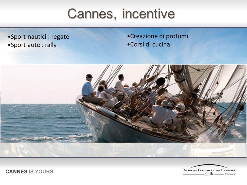 Cannes, incentive Sport nautici : regate Sport auto : rally Creazione di profumi Corsi di cucina
