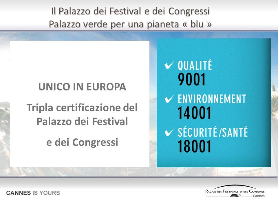 UNICO IN EUROPA Tripla certificazione del Palazzo dei Festival e dei Congressi Il Palazzo dei Festival e dei Congressi Palazzo verde per una pianeta « blu »