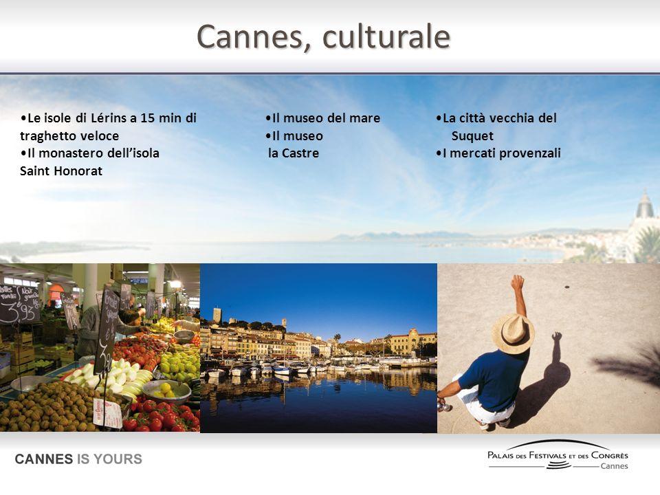 Cannes, culturale Le isole di Lérins a 15 min di traghetto veloce Il monastero dellisola Saint Honorat Il museo del mare Il museo la Castre La città v