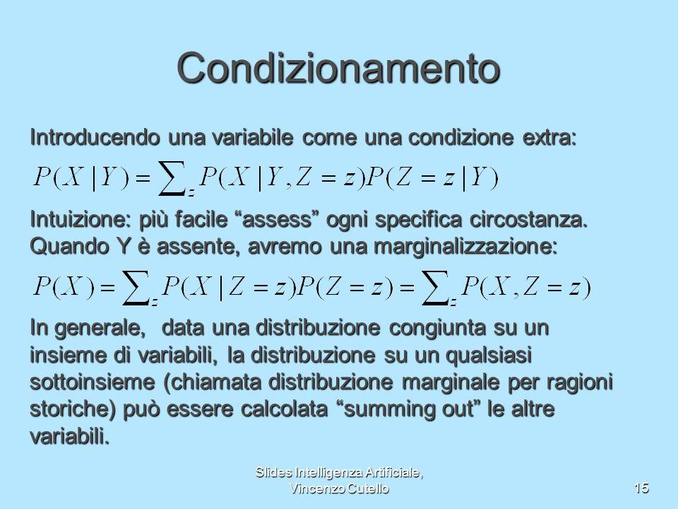 Slides Intelligenza Artificiale, Vincenzo Cutello15 Condizionamento Introducendo una variabile come una condizione extra: Intuizione: più facile assess ogni specifica circostanza.