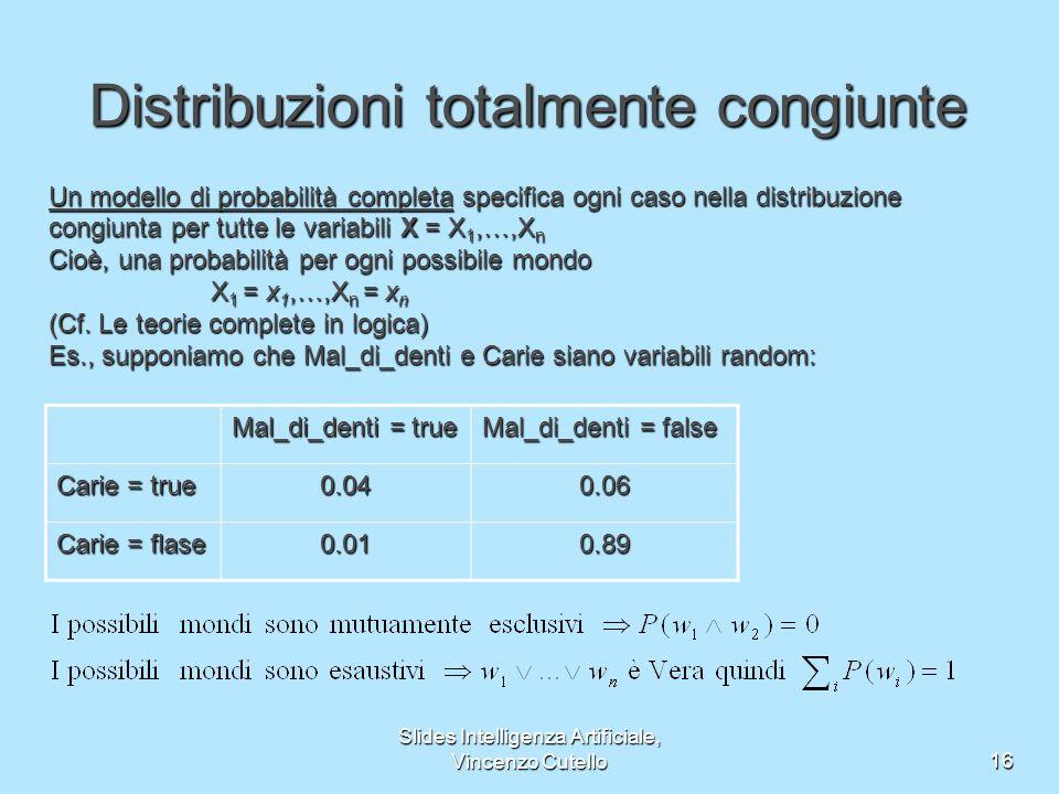 Slides Intelligenza Artificiale, Vincenzo Cutello16 Distribuzioni totalmente congiunte Un modello di probabilità completa specifica ogni caso nella distribuzione congiunta per tutte le variabili X = X 1,…,X n Cioè, una probabilità per ogni possibile mondo X 1 = x 1,…,X n = x n X 1 = x 1,…,X n = x n (Cf.