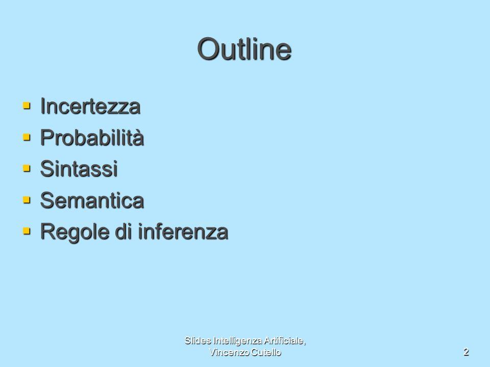 Slides Intelligenza Artificiale, Vincenzo Cutello3 Incertezza Sia lazione A t = partire per laeroporto t minuti prima del volo A t mi farà arrivare in tempo .