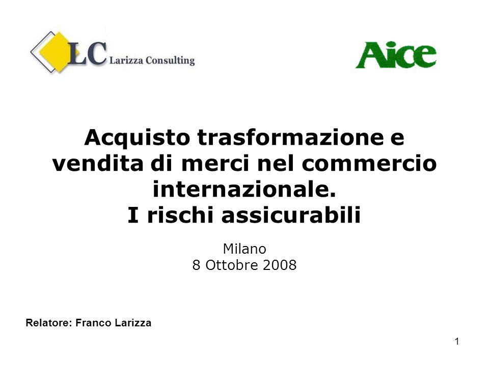 1 Acquisto trasformazione e vendita di merci nel commercio internazionale. I rischi assicurabili Milano 8 Ottobre 2008 Relatore: Franco Larizza
