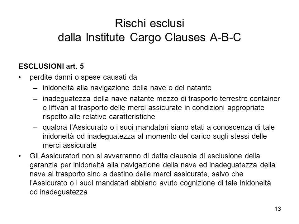 13 Rischi esclusi dalla Institute Cargo Clauses A-B-C ESCLUSIONI art. 5 perdite danni o spese causati da –inidoneità alla navigazione della nave o del