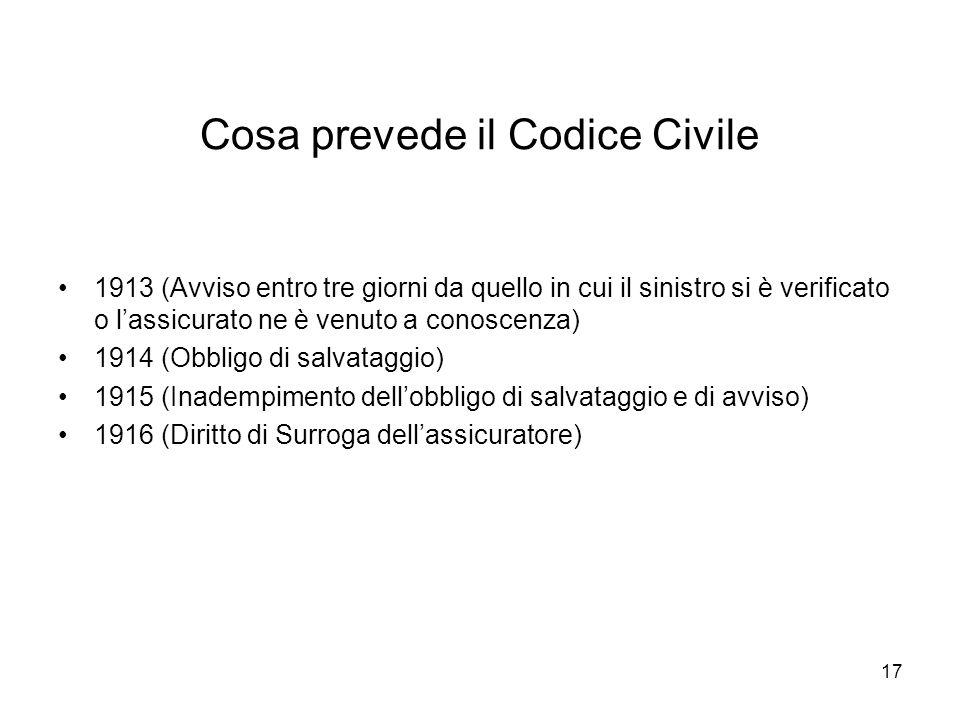 17 Cosa prevede il Codice Civile 1913 (Avviso entro tre giorni da quello in cui il sinistro si è verificato o lassicurato ne è venuto a conoscenza) 19
