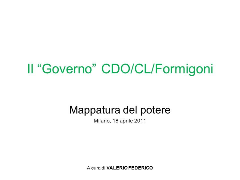 A cura di VALERIO FEDERICO Mappatura del potere Milano, 18 aprile 2011 Il Governo CDO/CL/Formigoni