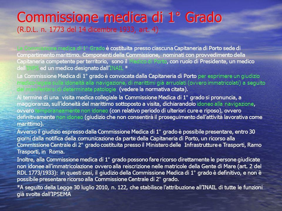 Commissione medica di 1° Grado Commissione medica di 1° Grado (R.D.L. n. 1773 del 14 dicembre 1933, art. 4) La Commissione medica di 1° Grado è costit