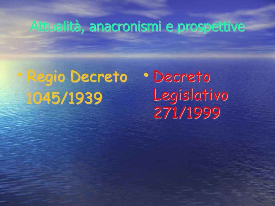 Attualità, anacronismi e prospettive Regio Decreto Regio Decreto 1045/1939 1045/1939 Decreto Legislativo 271/1999 Decreto Legislativo 271/1999