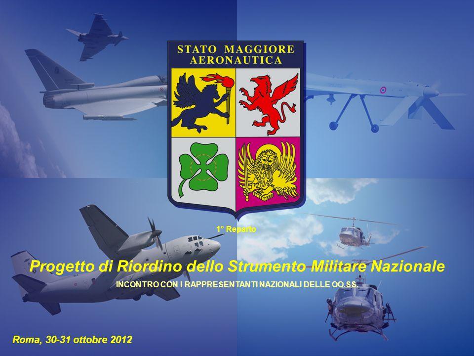 Aeronautica Militare 1° Reparto Roma, 30-31 ottobre 2012 Progetto di Riordino dello Strumento Militare Nazionale INCONTRO CON I RAPPRESENTANTI NAZIONALI DELLE OO.SS.