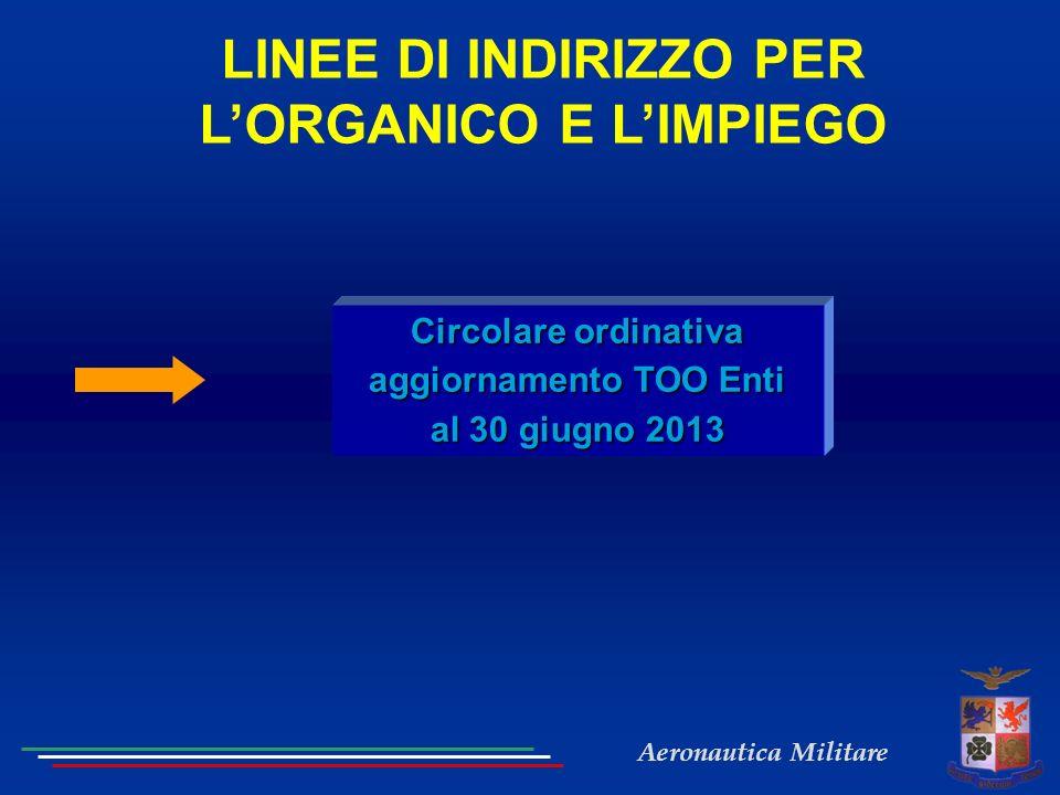 Aeronautica Militare LINEE DI INDIRIZZO PER LORGANICO E LIMPIEGO Circolare ordinativa aggiornamento TOO Enti al 30 giugno 2013