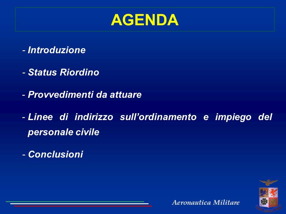 Aeronautica Militare AGENDA - Introduzione - Status Riordino -Provvedimenti da attuare -Linee di indirizzo sullordinamento e impiego del personale civile - Conclusioni