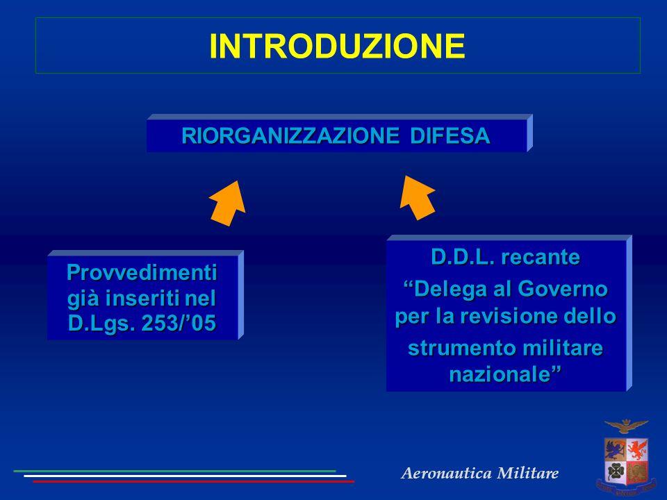 Aeronautica Militare INTRODUZIONE RIORGANIZZAZIONE DIFESA Provvedimenti già inseriti nel D.Lgs.