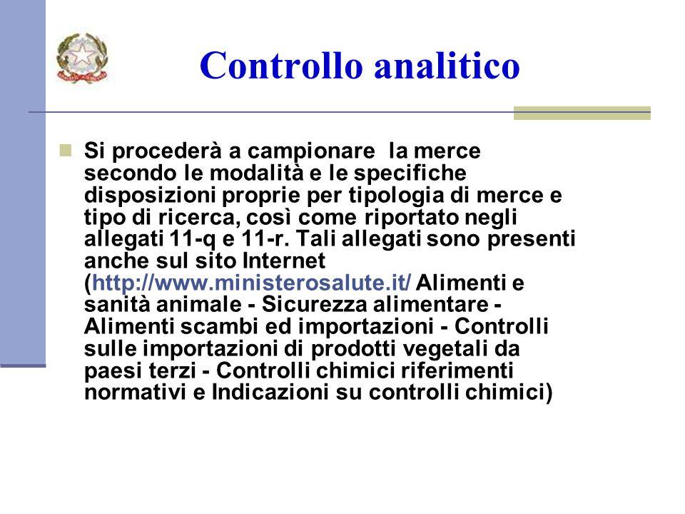 Controllo analitico Si procederà a campionare la merce secondo le modalità e le specifiche disposizioni proprie per tipologia di merce e tipo di ricerca, così come riportato negli allegati 11-q e 11-r.