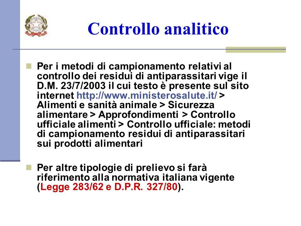Controllo analitico Per i metodi di campionamento relativi al controllo dei residui di antiparassitari vige il D.M.