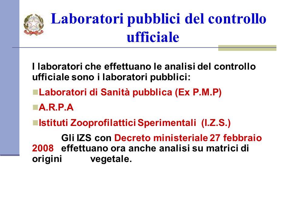 Laboratori pubblici del controllo ufficiale I laboratori che effettuano le analisi del controllo ufficiale sono i laboratori pubblici: Laboratori di Sanità pubblica (Ex P.M.P) A.R.P.A Istituti Zooprofilattici Sperimentali (I.Z.S.) Gli IZS con Decreto ministeriale 27 febbraio 2008 effettuano ora anche analisi su matrici di origini vegetale.
