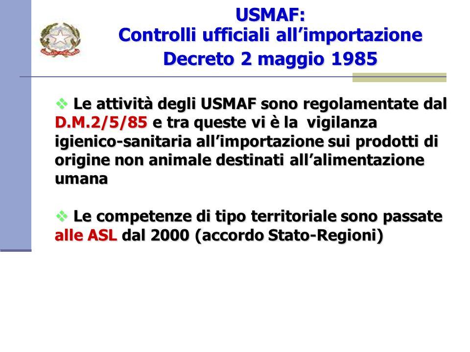 Le attività degli USMAF sono regolamentate dal D.M.2/5/85 e tra queste vi è la vigilanza igienico-sanitaria allimportazione sui prodotti di origine non animale destinati allalimentazione umana Le attività degli USMAF sono regolamentate dal D.M.2/5/85 e tra queste vi è la vigilanza igienico-sanitaria allimportazione sui prodotti di origine non animale destinati allalimentazione umana Le competenze di tipo territoriale sono passate alle ASL dal 2000 (accordo Stato-Regioni) Le competenze di tipo territoriale sono passate alle ASL dal 2000 (accordo Stato-Regioni) USMAF: Controlli ufficiali allimportazione Decreto 2 maggio 1985