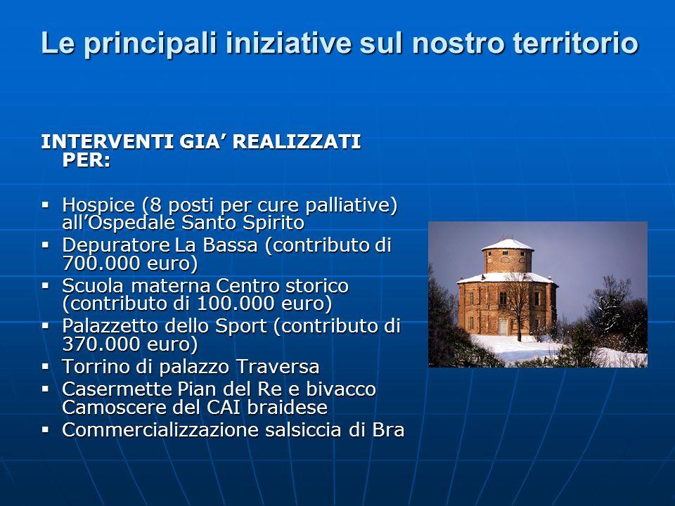 Le principali iniziative sul nostro territorio INTERVENTI GIA REALIZZATI PER: Hospice (8 posti per cure palliative) allOspedale Santo Spirito Hospice