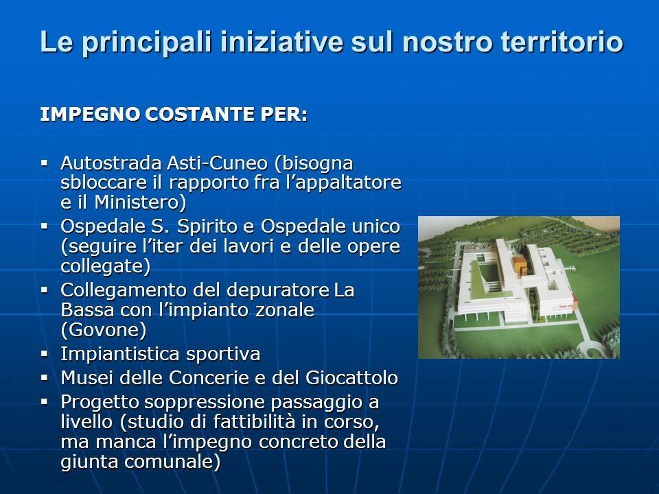 Le principali iniziative sul nostro territorio IMPEGNO COSTANTE PER: Autostrada Asti-Cuneo (bisogna sbloccare il rapporto fra lappaltatore e il Minist