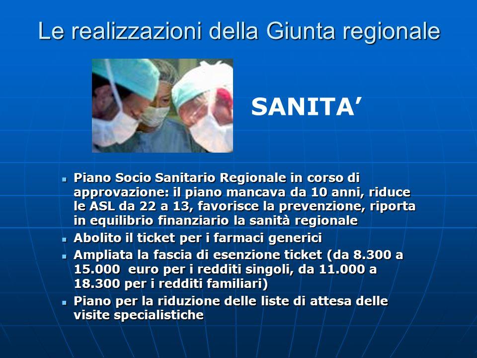 Le realizzazioni della Giunta regionale Piano Socio Sanitario Regionale in corso di approvazione: il piano mancava da 10 anni, riduce le ASL da 22 a 1