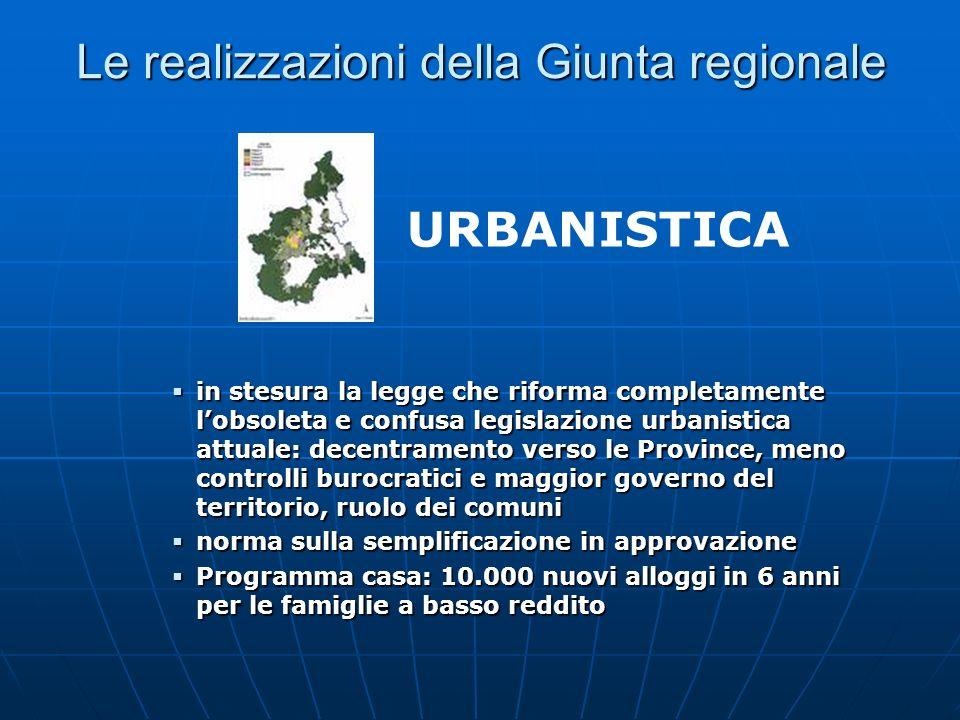 Le realizzazioni della Giunta regionale in stesura la legge che riforma completamente lobsoleta e confusa legislazione urbanistica attuale: decentrame