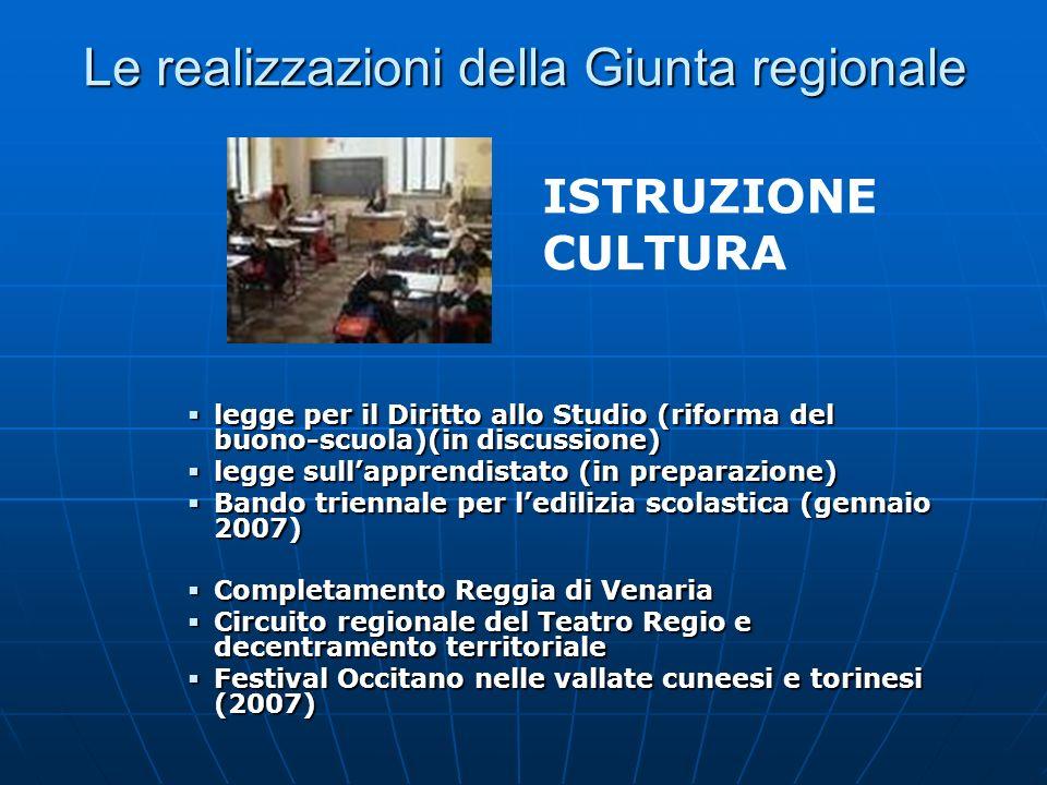 Le realizzazioni della Giunta regionale legge per il Diritto allo Studio (riforma del buono-scuola)(in discussione) legge per il Diritto allo Studio (