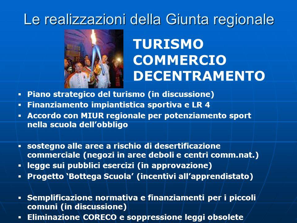 Le realizzazioni della Giunta regionale Piano strategico del turismo (in discussione) Finanziamento impiantistica sportiva e LR 4 Accordo con MIUR reg