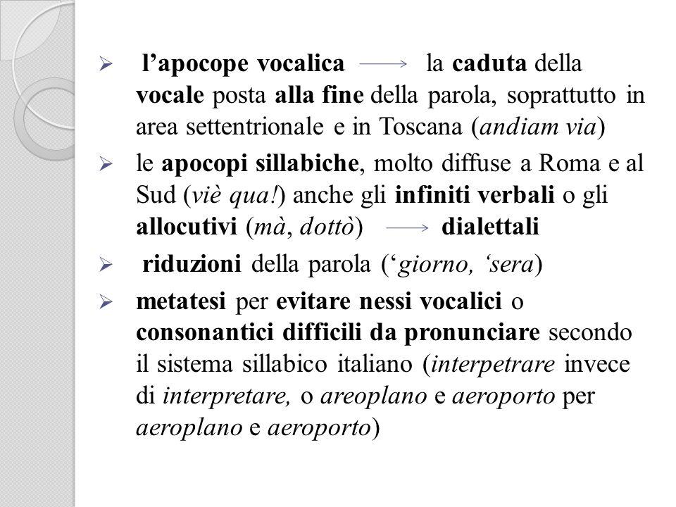 lapocope vocalica la caduta della vocale posta alla fine della parola, soprattutto in area settentrionale e in Toscana (andiam via) le apocopi sillabi