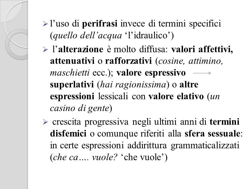 luso di perifrasi invece di termini specifici (quello dellacqua lidraulico) lalterazione è molto diffusa: valori affettivi, attenuativi o rafforzativi