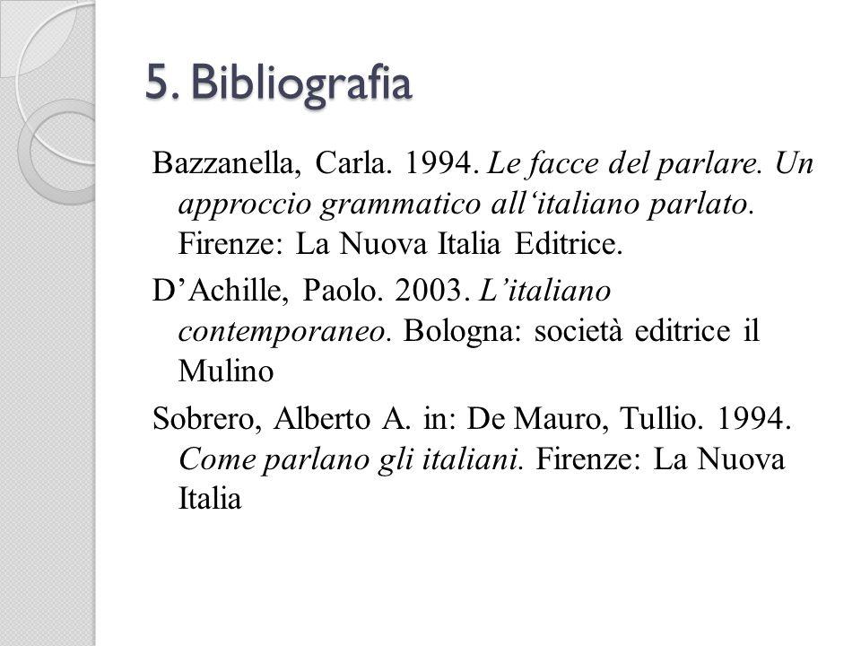 5. Bibliografia Bazzanella, Carla. 1994. Le facce del parlare. Un approccio grammatico allitaliano parlato. Firenze: La Nuova Italia Editrice. DAchill