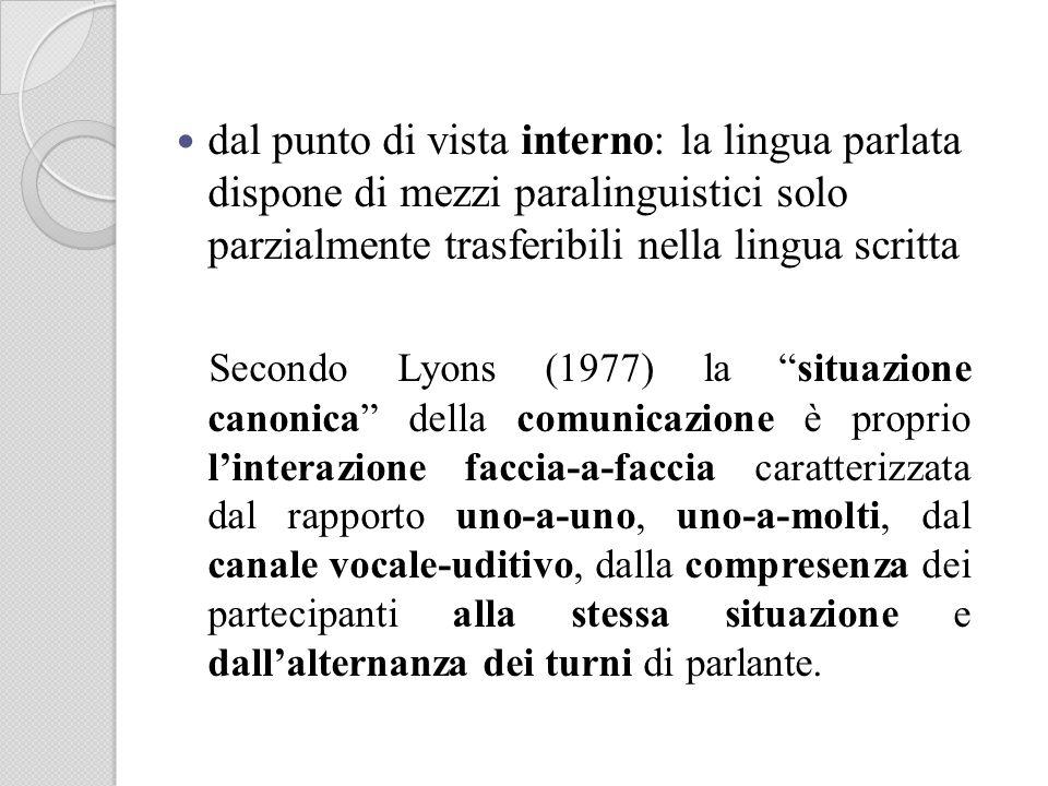 dal punto di vista interno: la lingua parlata dispone di mezzi paralinguistici solo parzialmente trasferibili nella lingua scritta Secondo Lyons (1977