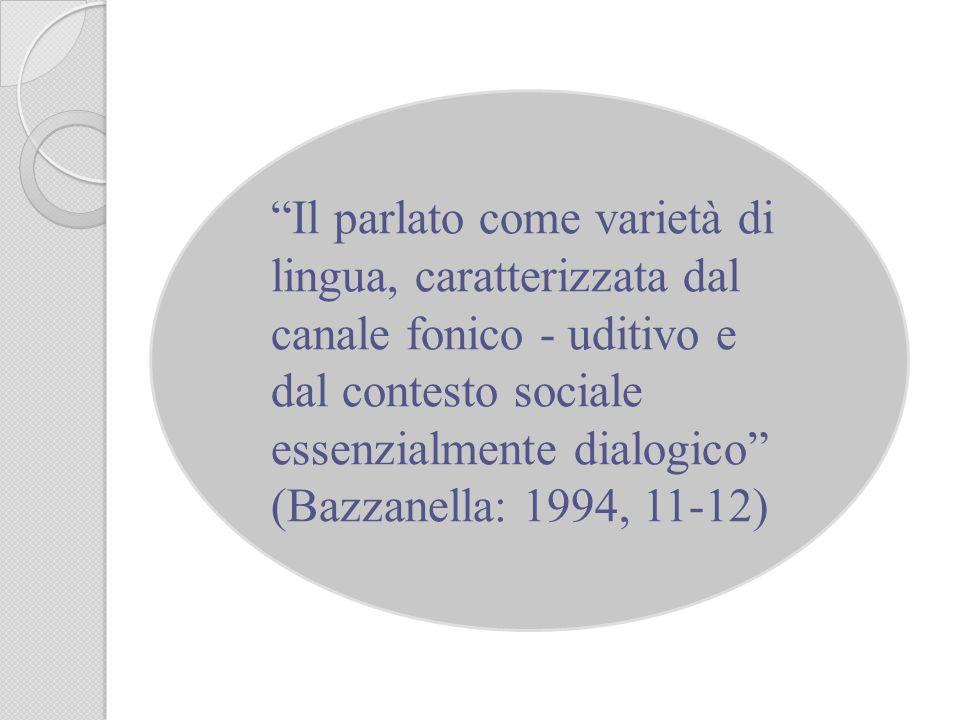 Il parlato come varietà di lingua, caratterizzata dal canale fonico - uditivo e dal contesto sociale essenzialmente dialogico (Bazzanella: 1994, 11-12