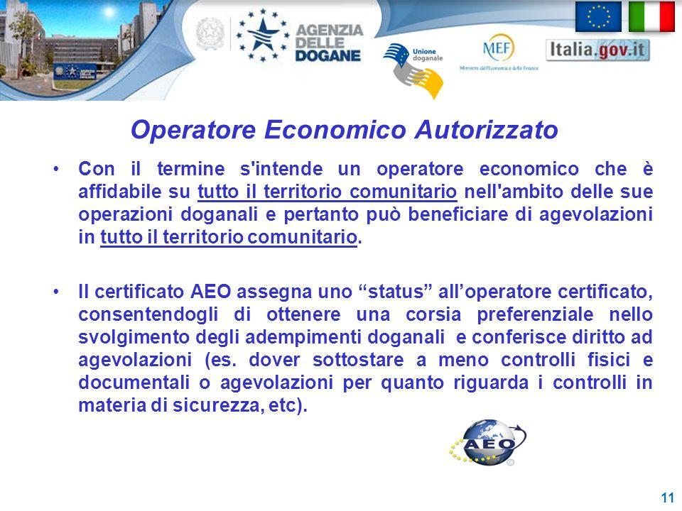Operatore Economico Autorizzato Con il termine s'intende un operatore economico che è affidabile su tutto il territorio comunitario nell'ambito delle