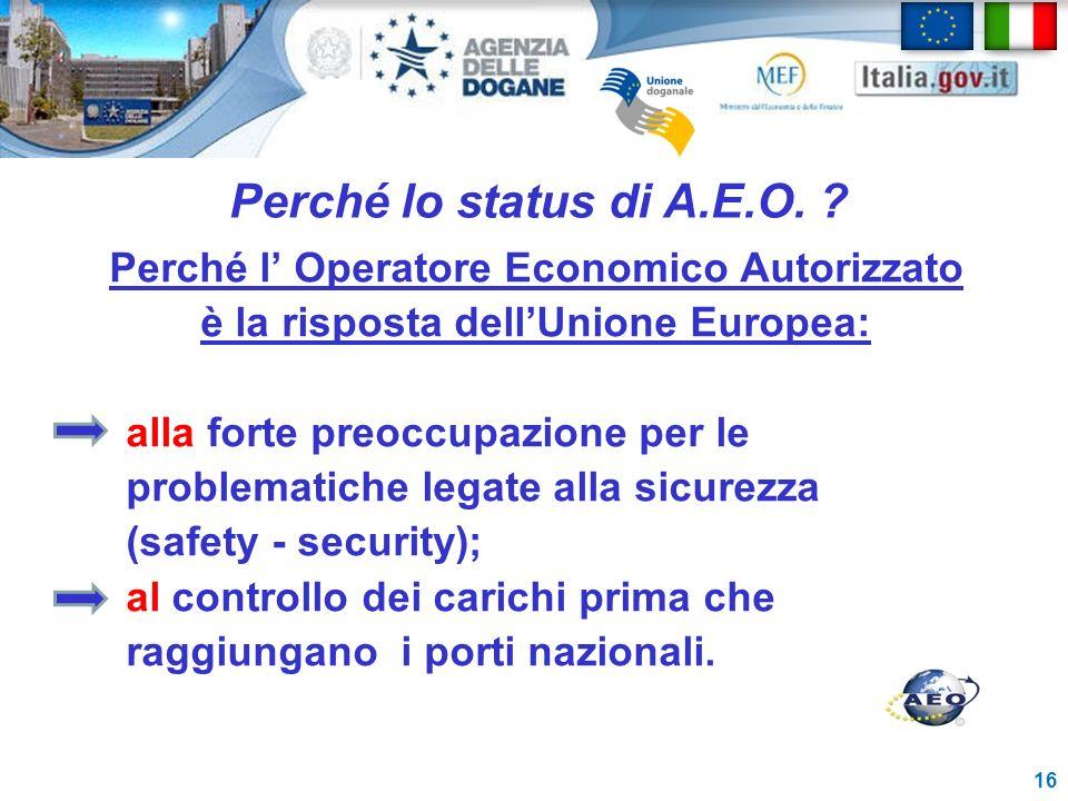 Perché lo status di A.E.O. ? Perché l Operatore Economico Autorizzato è la risposta dellUnione Europea: alla forte preoccupazione per le problematiche
