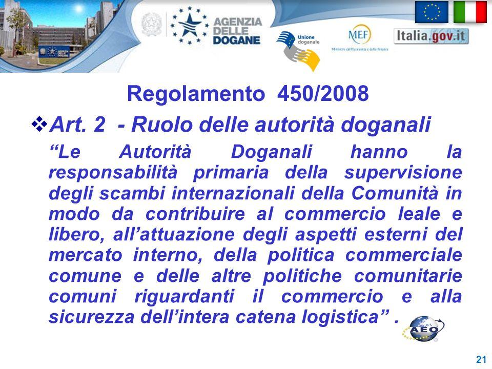 Regolamento 450/2008 Art. 2 - Ruolo delle autorità doganali Le Autorità Doganali hanno la responsabilità primaria della supervisione degli scambi inte