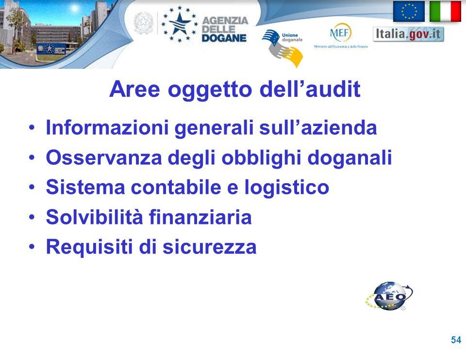 Aree oggetto dellaudit Informazioni generali sullazienda Osservanza degli obblighi doganali Sistema contabile e logistico Solvibilità finanziaria Requ